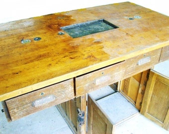 Rare Antique Industrial Oak And Maple Desk Scientific Chemistry Winery Partner Table Laboratory 1900 Workbench Work Table Swivel Seats 4
