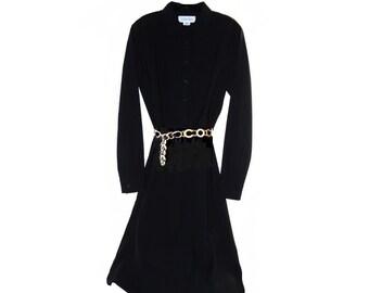 Vintage 1990s Designer CALVIN KLEIN Black Wool Gabardine Long Sleeve Shirt Office Dress SZ 6 Forties to Mad Men 60s Style - Bias Cut