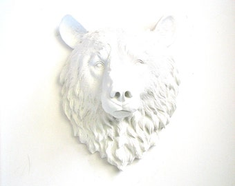 Faux Taxidermy Large Bear Head Wall Hanging/Wall Mount home decor:  Bob the Bear in a modern crisp white
