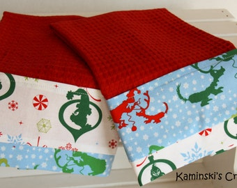 Kitchen Grinch Christmas Towels, Set of 2