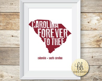 8x10 INSTANT DOWNLOAD // Carolina Forever To Thee State Print // University of South Carolina Art // State Print