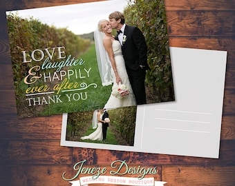 Printable Wedding Thank You Card - Thank you postcard - Custom Typography - Classic Wedding - DIY card - Print your own