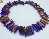 Mystic Coated Titanium Crystal Quartz,15 inch strand smooth graduated point bead,smooth nugget bead,top drilled bead 6-10x20-35mm
