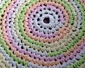 "Sherbet Rug Crochet 31"" Rag Rug Round Cotton Washable Nursery COSOFG Kitchen Porch Country Primitive Homespun Pink White Green Yellow"