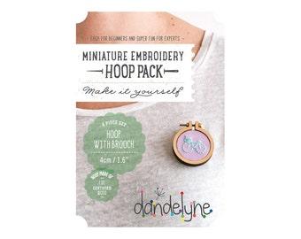 """40mm miniature embroidery hoop with brooch back - 1.6"""" hoop - make a brooch - unique Dandelyne miniature hoop"""