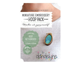 27mm x 45mm OVAL miniature embroidery hoop with brooch back - make a brooch - unique Dandelyne miniature hoop