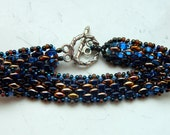 Tamsin Sapphire Copper Rainbow Scales Beaded Bracelet - Inspired by Lost Girl Series