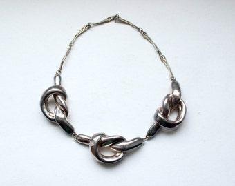 1980s Israeli Sterling David Varsano electroform hollow puffy sculptural knots necklace * Free shipping