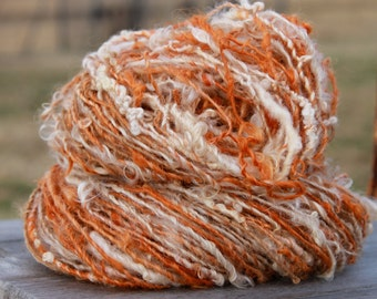 Handspun single, mohair, suri alpaca, border leicester, hand dyed, farm raised, knitting