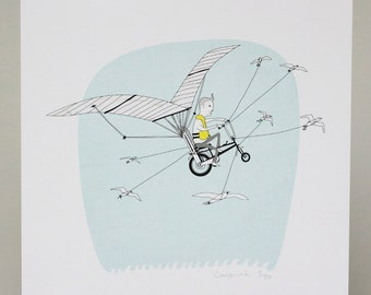 Flying Chopper - Giclee Print, 230mm x 230mm