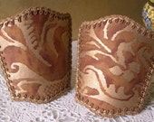 Pair of Wall Sconce Venetian Clip On Shield Shades Fortuny Fabric Rust & Silvery Gold Sevigne Pattern - Handmade in Italy