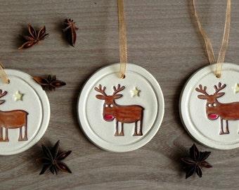 Ceramic Christmas Tree Deer Ornaments Rudolf Holiday Pottery Raindeer  Winter Home Decoration Gift Set of 3