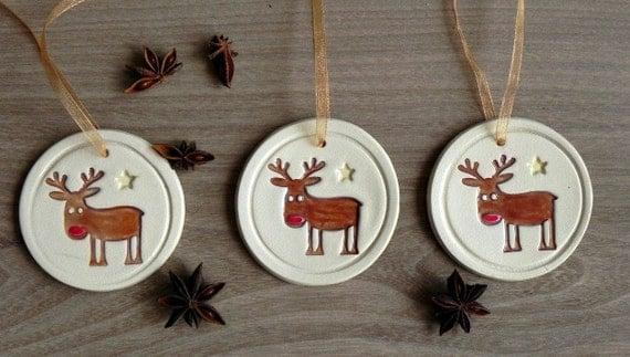 Ceramic Christmas Tree Deer Ornaments Rudolf Holiday by Ceraminic
