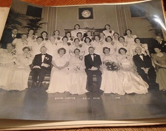 Eastern Star Group Photo 1942 - Queens Chapter - Black & White Photo