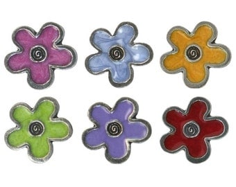 10% OFF Danforth Colorful Flower Collection Pewter Metal Shank Button