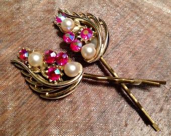 Bridal Hair Pins Jewelry Vintage 1950's Red Lisner AB Rhinestone Pearl Hairpins Bobby Pins