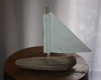 Handmade Driftwood And Canvas Sailboat, Made From Driftwood From The New England Shoreline, Nautical, Cottage Chic, Decorative, Sailing