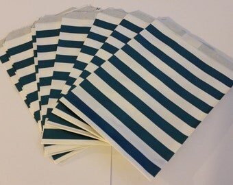 "25 Paper Treat Bags dark blue stripes 5 ""x 7""  - Snack Bags  - Gift Goody Bags - Birthday Party - Baby Boy  Shower - Utensil Baggy - Popcorn"