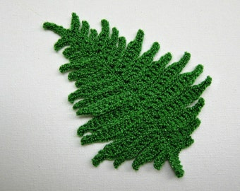 "1pc 4""  Crochet Very Complex FERN LEAF Applique"