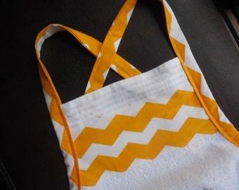 Baby Bath Apron Towel - yellow chevron on white towel - gender neutral - boy or girl