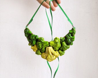 Statement Necklace Happy Vegetables, green vegetables, bib chunky necklace, vegetarian fashion jewelry, green wedding jewelry