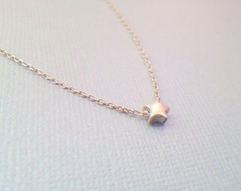 Sterling silver tiny star necklace - silver delicate star necklace - delicate silver necklace- Valentine's day gift