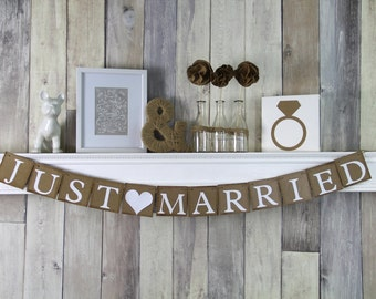 Just Married Banner - Wedding Decoration - Car Sign