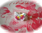 Hand made ceramic butterfly adjustable ring - silver tone