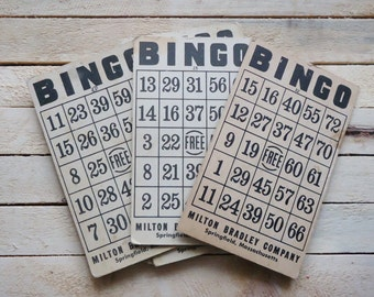 Vintage Bingo Cards Set of 7 Aged Patina