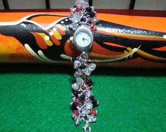 100C,Crystal Beads Silver Bracelet with Quarzt Watch, Beaded Watch Bracelet