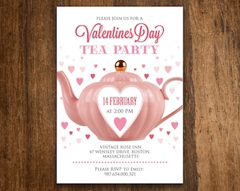 Valentine Tea Party Invitation Printable Invite - Heart Invitation DOWNLOAD - Valentine's Day EDITABLE DIY Template Invitations