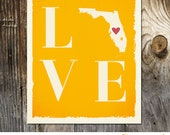 LOVE Florida Yellow Custom Wedding Print Destination Wedding Gift Memento Couple print Signature Guest Books USA States Map Signature Map