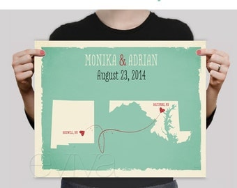 Sea foam Mint Green Aqua Custom Wedding Print Destination Wedding Gift Memento Couple print Guest Books USA States Map Wedding Signature Map