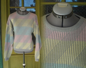 vintage 80s 90s Permit pastel space due heather gray slouchy sweater diagonal stripe boyfriend sweater ugly sweater ribbed womens mens large