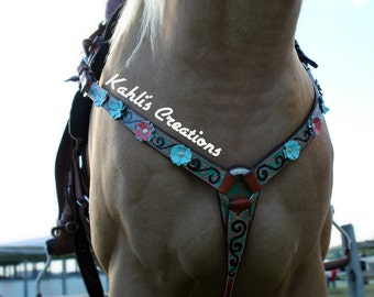 Flowers and Swirls Breast Collar
