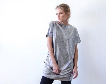 Metallic silver tunic with pockets , Sparkling mini silver dress