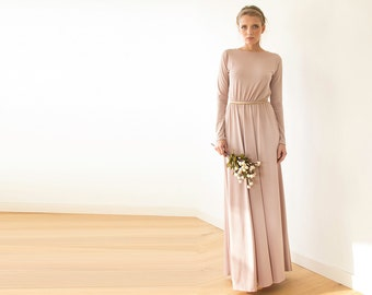 Blush pink backless maxi dress, Pink gown with long sleeves 1041