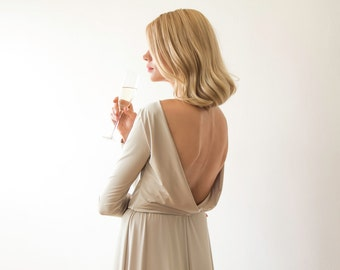 Backless maxi dress with long sleeves, Gold champagne color 1041