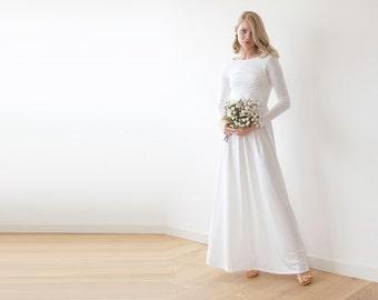 Open back maxi ivory dress, Long sleeves wedding gown, Low back wedding dress 1041