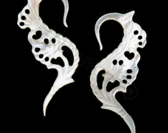 10G Pair Mother of Pearl Shoot Gauged Earring Plugs 10 gauge Organic Hand Carved Body Piercing Jewelry