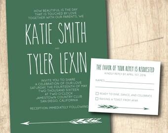 "Green ""Hipster"" Wedding Invitation - Printed or Printable"