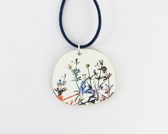 Colourful Wooden Botanical Flower Pendant