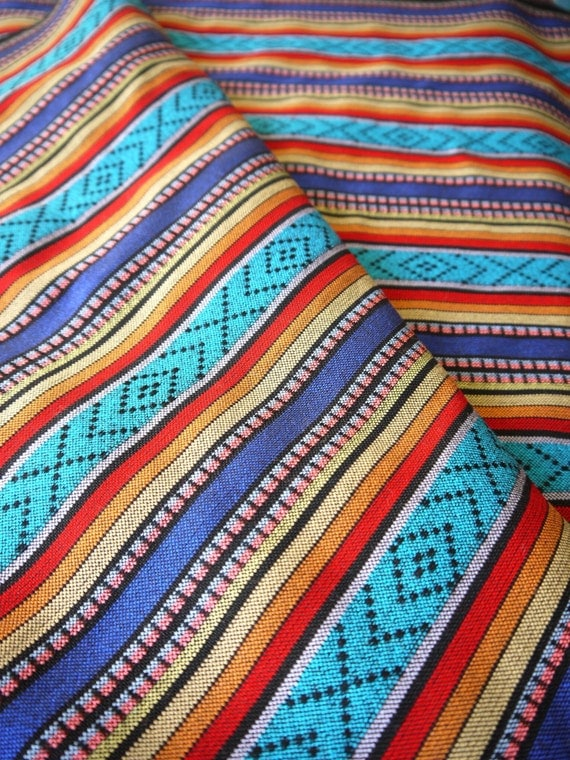 Peruvian fabric andean fabric woven bluma blue 1 yard for Children s clothing fabric by the yard