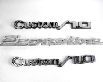 Vintage Chrome Car Trim - Econoline and Custom 10 - Mid Century, Auto Chrome Script, Chrome Trim, Ford Truck, Automobilia, Hippy Van