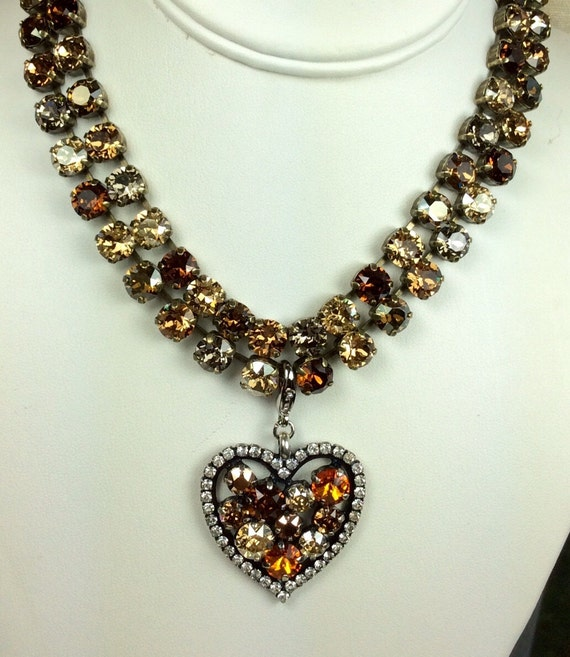 """Swarovski Crystal 8.5mm """"Bronzey Brown"""" Necklaces, With Add- On Heart - Designer Inspired - Stunning and Classy Pairing -FREE SHIPPING"""