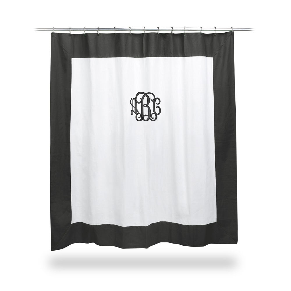 Monogrammed Twill Black And White Shower Curtain By