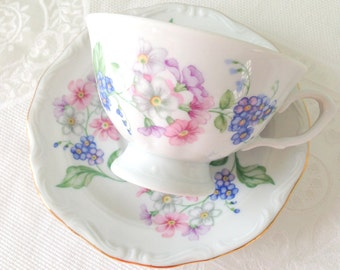 Mid Century Walbrzych Pologne Garland porcelaine tasse à thé et soucoupe - c. 1950