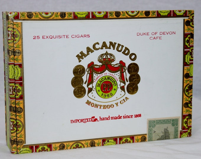 Vintage Macanudo, Duke of Devon Café Wooden Cigar Box, Kingston Jamaica