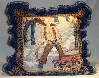"""Handsome Cowboy Pillow with Leopard Chenille Border, Braided Twine Trim and Denim Ruffle 20"""" x 20"""" w/ Down Fill (Made to Order)"""