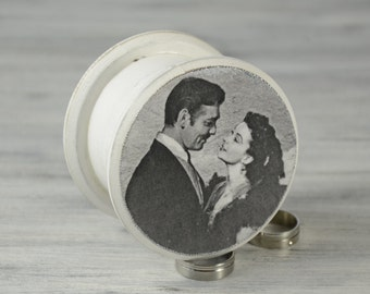 Wedding Proposal Ring Box, Marry Me Proposal Box, Engagement Ring Box, White Black Box, Rhett and Scarlett